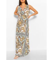 chain print belted maxi dress, sage