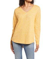 women's caslon shirttail tunic, size small - yellow