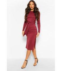 tall rib tie front midi dress, berry