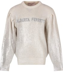 alberta ferretti withe sweater for girl with logo