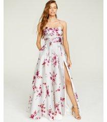 b darlin juniors' strappy-back foil-print gown