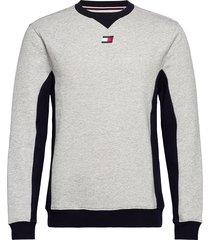 blocked fleece crew t-shirts long-sleeved grijs tommy sport