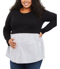 motherhood maternity plus size layered-look top