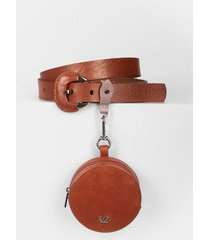 cinturón unifaz de cuero para mujer monedero
