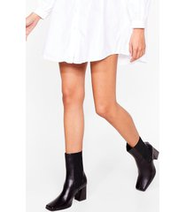 womens in case you didn't toe faux leather heeled boots - off white