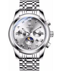 reloj mecánico automático de acero del reloj de los-blanco