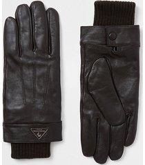 river island mens dark brown leather gloves