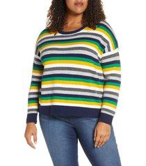 plus size women's court & rowe multistripe crewneck sweater
