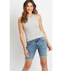 maurices womens medium wash cuffed hem 8in bermuda shorts blue