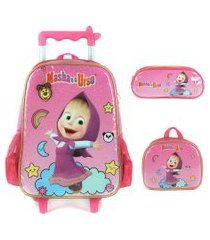 kit mochila infantil com rodinhas masha e o urso com lancheira e estojo