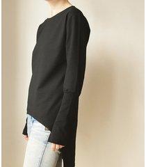bluza tunika asymetryczna frak prostokąt czarny