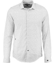 cast iron zwart wit slim fit stretch overhemd valt kleiner