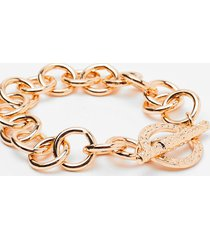 womens link on our feet chain bracelet - gold