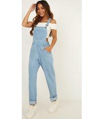 showpo  kiera denim overalls in blue wash - 20 (xxxxl) pinafores &