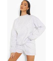 woman geborduurd trainingspak met sweater en shorts, ash grey