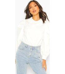cotton blouse met crochet kraag, wit