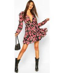 bloemenprint skater jurk met mouw franjes, zwart