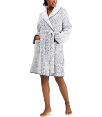 charter club faux-sherpa cozy wrap robe, created for macy's