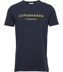 city print tee s/s t-shirts short-sleeved blå lindbergh