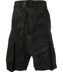 11 by boris bidjan saberi drop-crotch cargo shorts - black