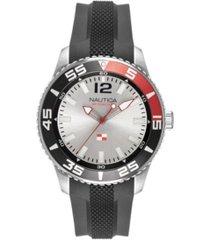 nautica men's analog black silicone strap watch 44mm