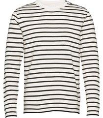 oscar stripe stickad tröja m. rund krage vit kronstadt