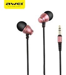 audífonos bluetooth manos libres inalámbricos, awei es-q6 auricular de aislamiento acústico de alta fidelidad auriculares estéreo de música en auriculares (oro rosa)