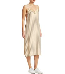 ilona striped silk sleeveless dress