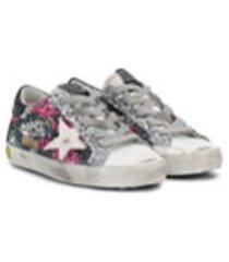 golden goose kids lace-up glitter detail sneakers - prateado