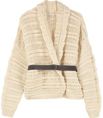 brunello cucinelli belted cardigan