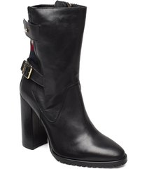 modern blanket high bootie shoes boots ankle boots ankle boots with heel svart tommy hilfiger