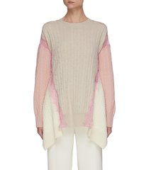 lace trim cable-knit oversized wool sweater