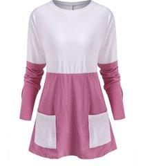 two tone bicolor fleece pocket long sleeve tunic tee