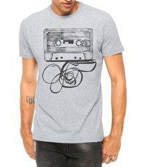 camiseta criativa urbana fita cassete k7 manga curta - masculino