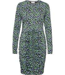 essy print ls dress knälång klänning blå modström
