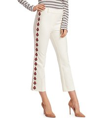 derek lam women's crosby embroidered flare pants - white - size 0