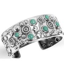 american west by carolyn pollack green turquoise gemstone petroglyph cuff bracelet in sterling silver