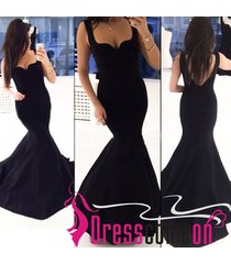 on sale sexy mermaid straps black satin prom dress long evening/formal gowns