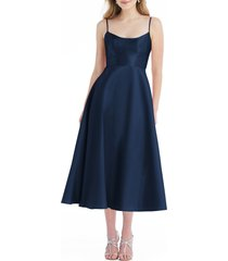 alfred sung spaghetti strap satin midi cocktail dress, size 0 in midnight at nordstrom