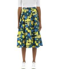rainbow flower printed cotton full skirt