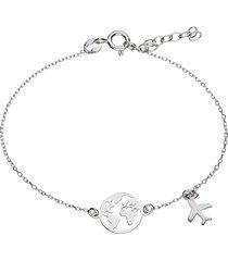 bracciale in argento rodiato con mondo e pendente aereo per donna