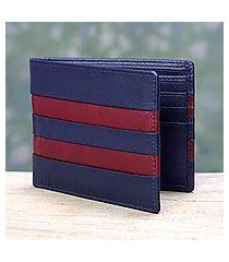men's leather wallet, 'navy red pride' (india)