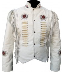 mens white western cowboy leather jacket coat with fringe bone and beads