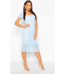 lace frill hem bodycon midi dress, pastel blue