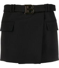 balmain belted 'b' mini skirt - black
