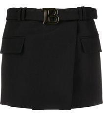 balmain belted 'b' mini skirt - black