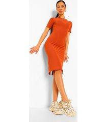 strakke geribbelde geplooide midi jurk met open rug, terracotta