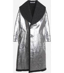 j.w. anderson oversized laminated coat with checked inserts