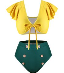 knotted flounced sleeve mock button plus size two piece swimsuit
