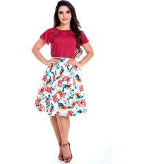blusa miss lady viscose vermelho com bordados pedrarias